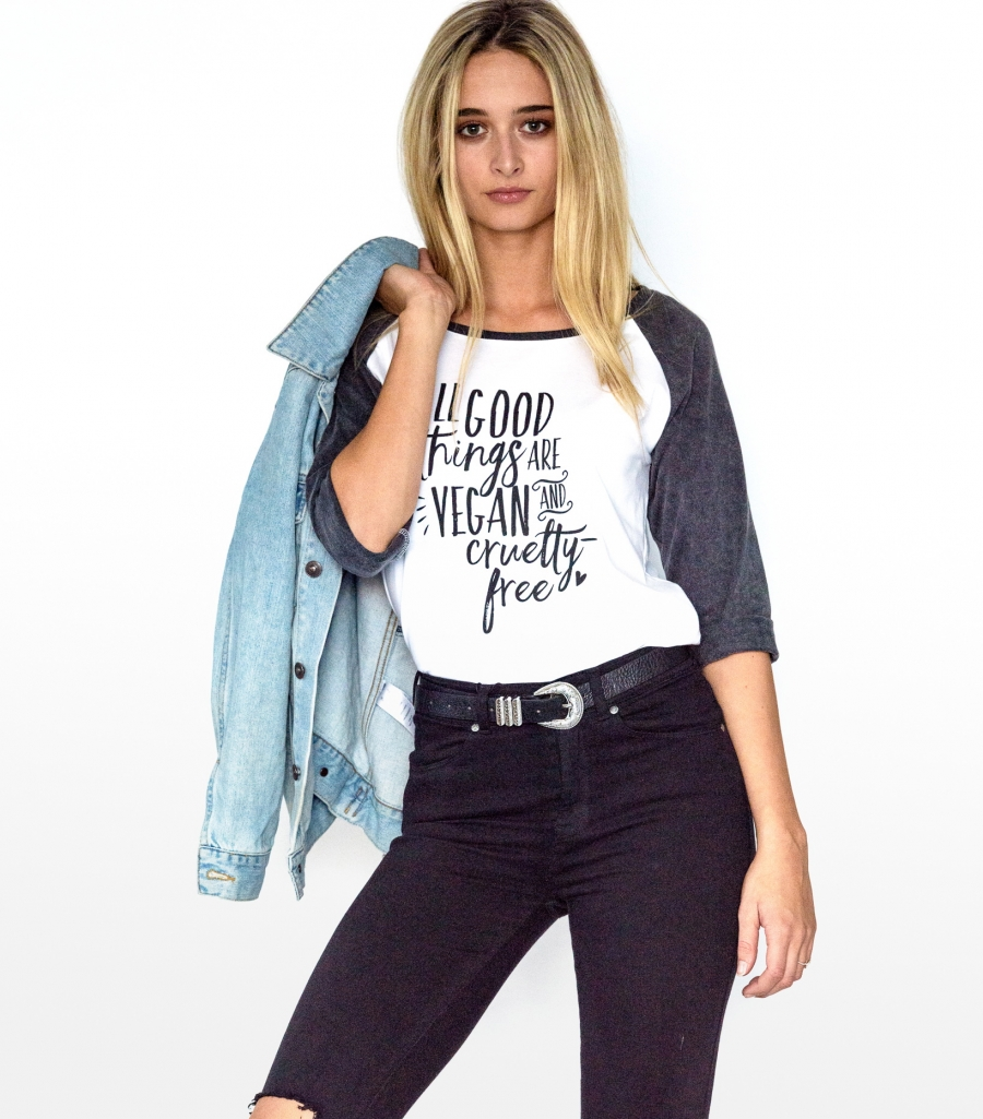 All good things are cruelty free Raglan Front 1