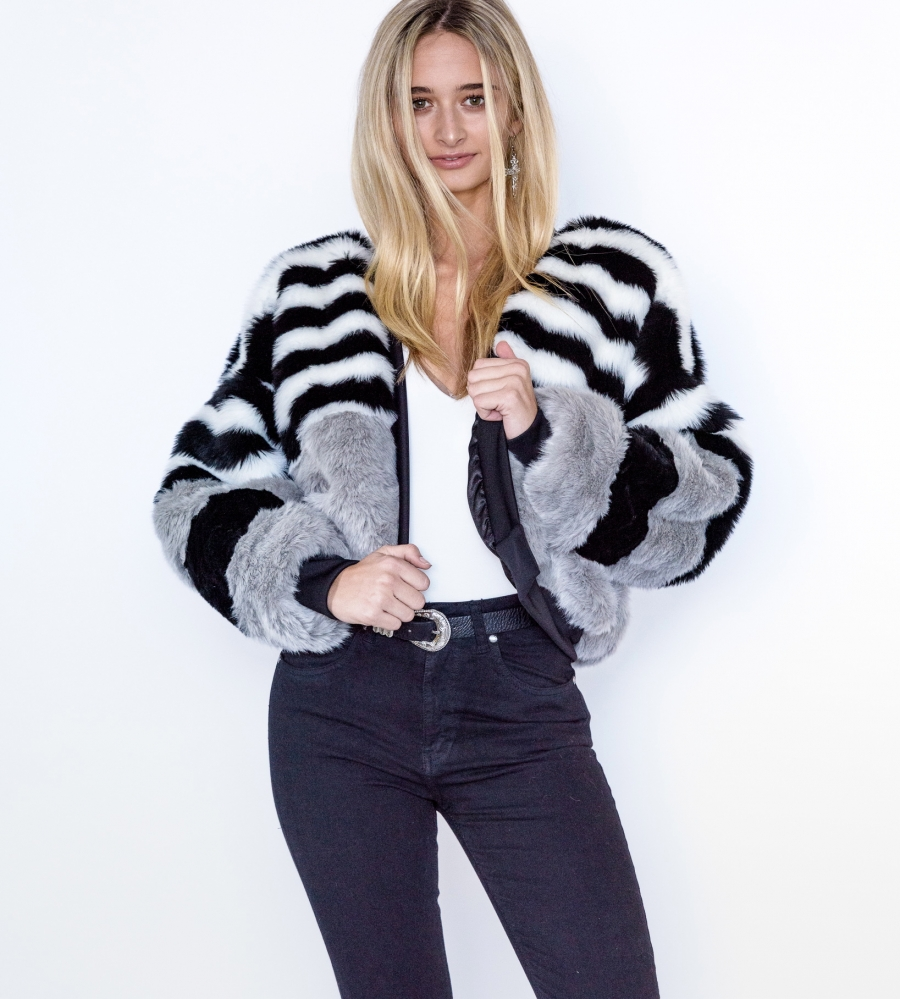Cruelty Free Faux Fur Bomber Jacket Front
