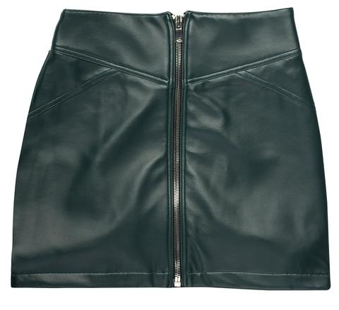 Deep Emerald Vegan Leather Mini Skirt Front