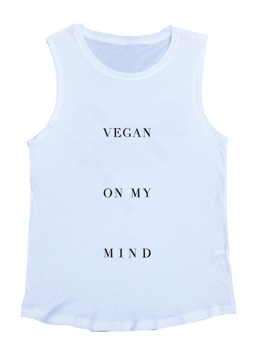 Vegan On My Mind White Muscle Tee