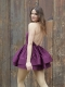 Pema Party Dress In Satin - Eggplant Model Back