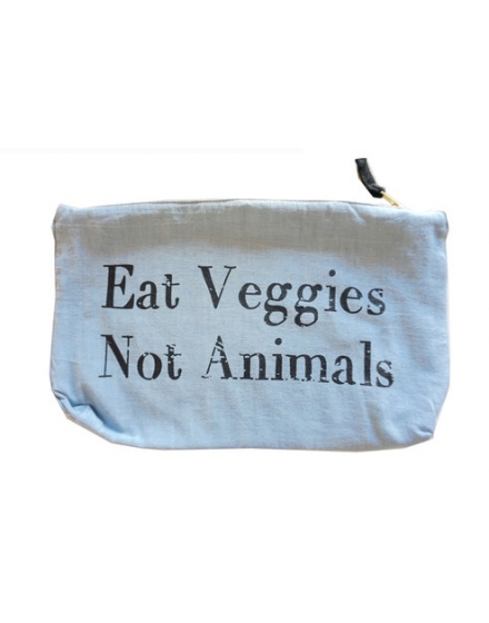 Eat Veggies Not Animals Clutch Light Denim