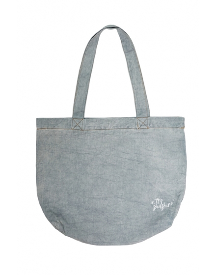 Vegan Vibes Light Denim Tote Bag Back