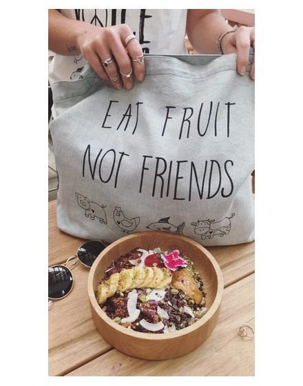 Eat Fruit Not Friends Light Denim Tote