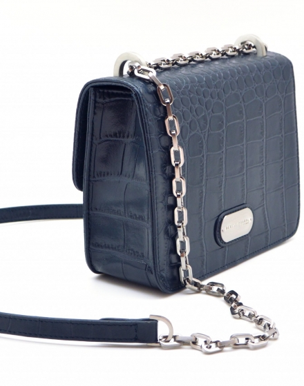 Denise Roobol Mini Cruise vegan leather bag - Blue Croco