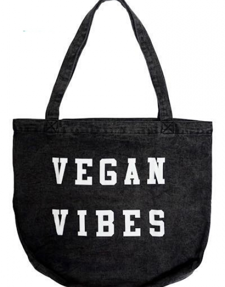 Vegan Vibes Denim Tote Bag Front