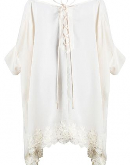 White Satin and Venice Lace Trim Tie Back Tunic Back