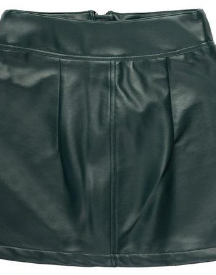 Deep Emerald Vegan Leather Mini Skirt Back