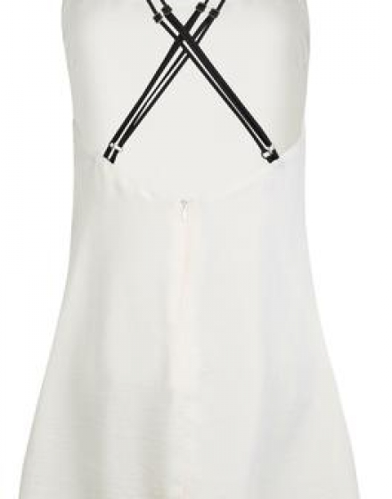 Ivory Satin Slip Dress Back
