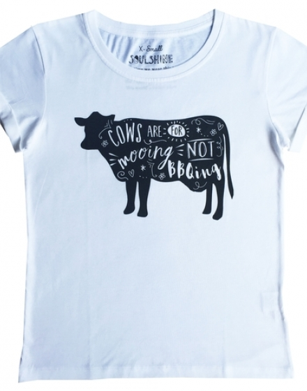 Moo Cow White T-Shirt Front
