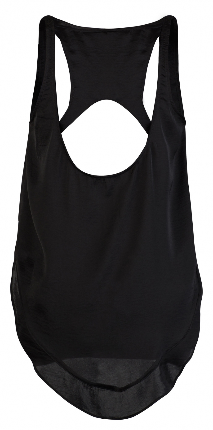 Satin Racer Back Tank - Black