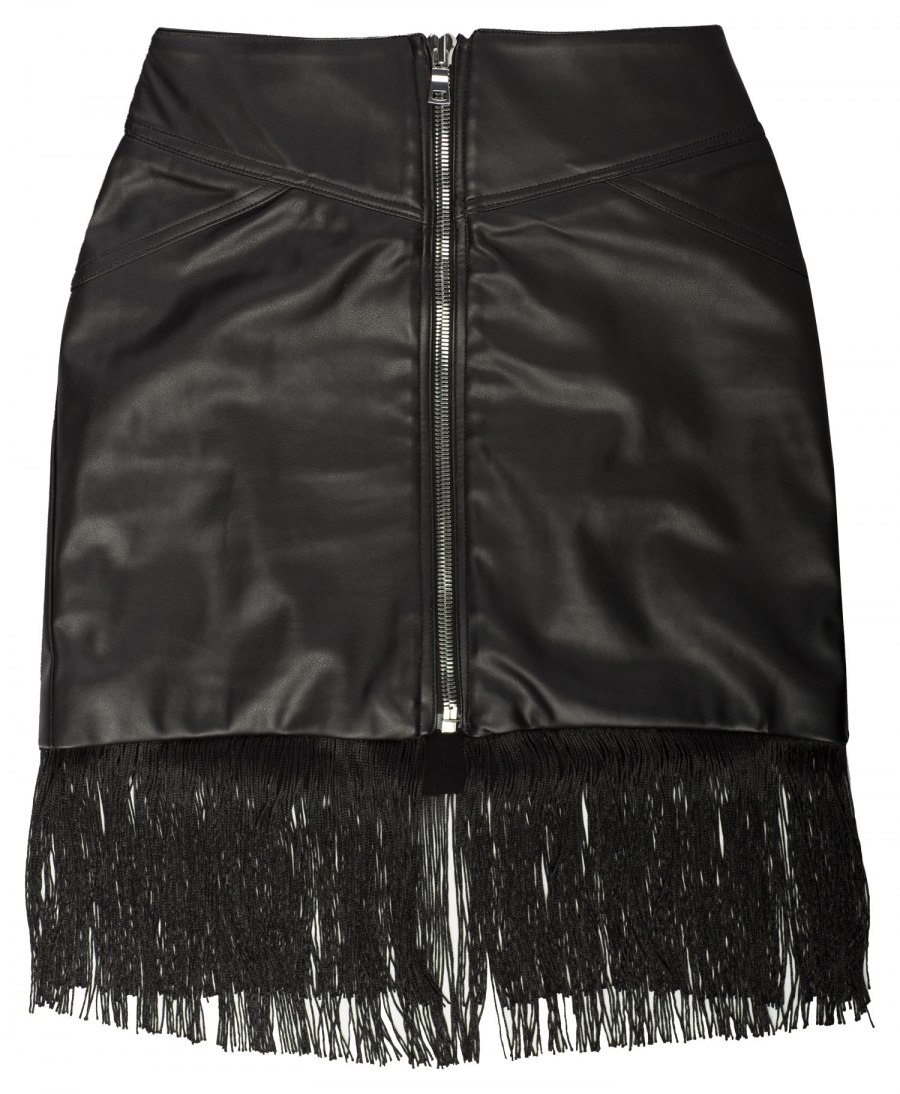 Vegan Leather Fringe Mini Skirt - Black