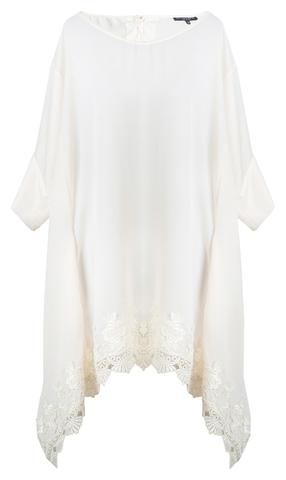 White Satin and Venice Lace Trim Tie Back Tunic Front