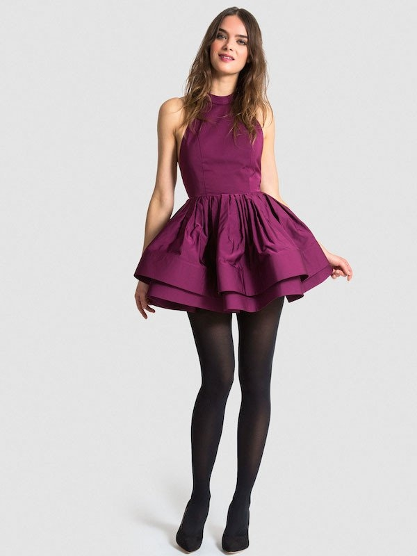 Pema Party Dress In Satin - Eggplant Front