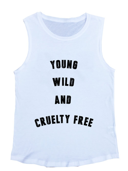 Young Wild White Muscle Tee