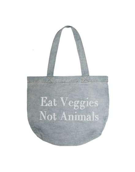 Eat Veggies Light Denim Tote Bag Front