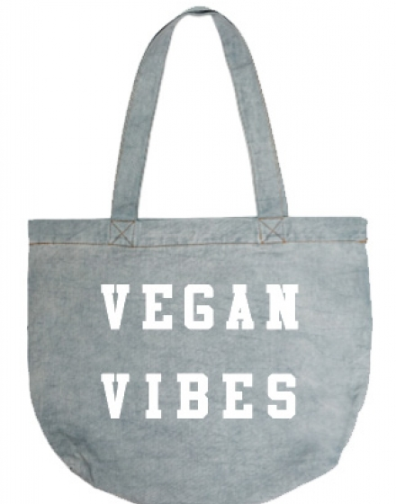 Vegan Vibes Light Denim Tote Bag Front