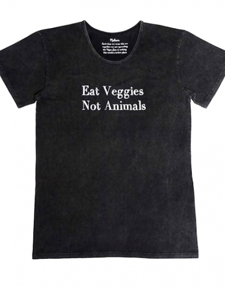 Mens Eat Veggies Stonewash T-Shirt Front