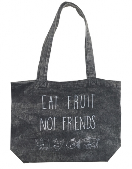 Eat Fruit Denim Stonewash Tote Front