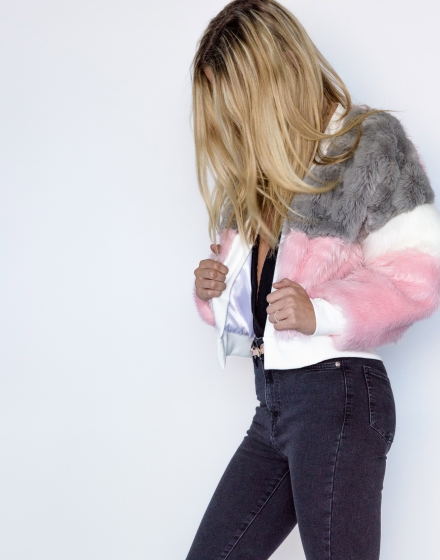 Cruelty Free Faux Fur Bomber Jacket Side