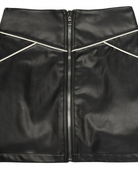Vegan Leather Mini Skirt - Black