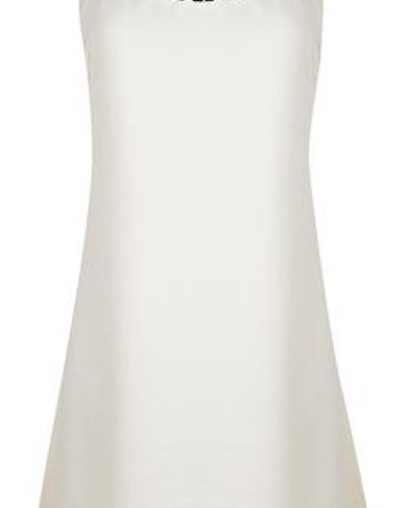 Ivory Satin Slip Dress Front