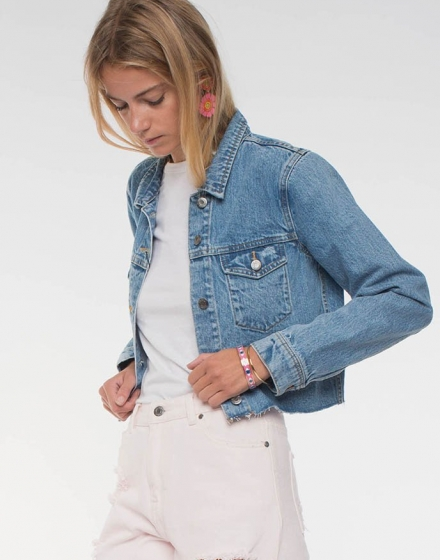 Jeanie Jacket Light Retro Ripped Front